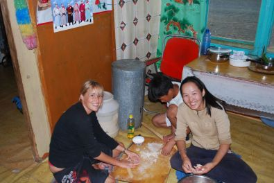 Me and our guide Davka making dublings, in our driver's house