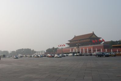 Traffic between Tianamen square and the forbidden city.