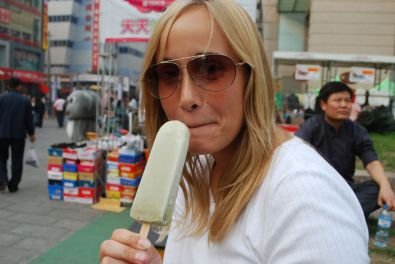 Me eating (or rather tasting) a green bean flavoured ice cream...