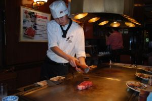 Our chef (yes, OUR) preparing our Kobe steak.