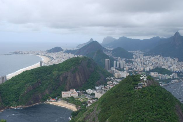 Rio de Janeiro with Copacabana to the left and Christ The Redeemer to the far right