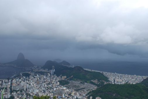 Copacabana to the right and the Sugar Loaf to the left