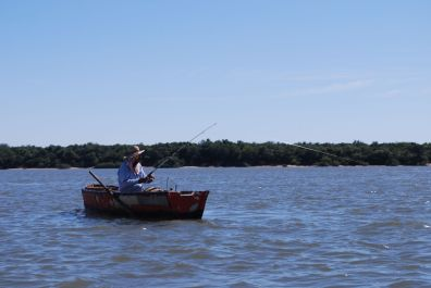A fisherman on the river Uruguay