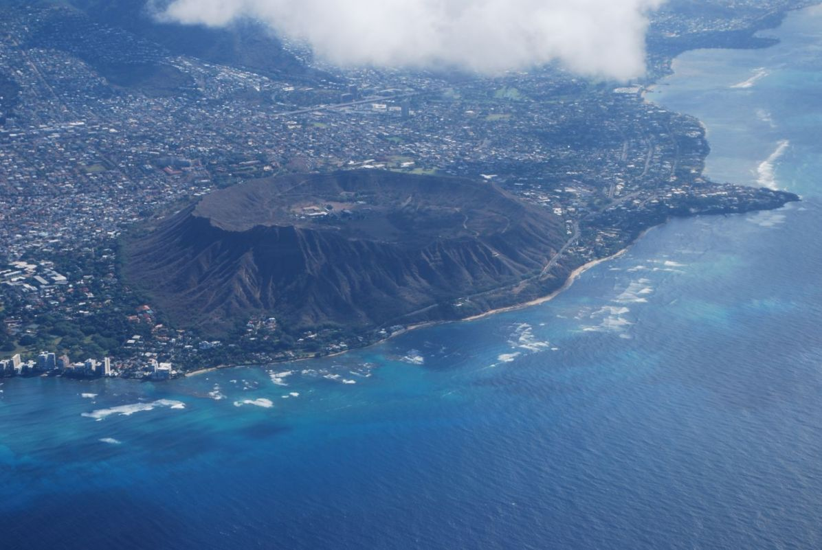 Diamond Head volcano crater seen from above