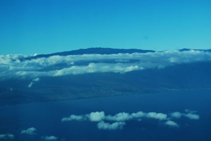 Our first glimpse of Maui from the plane