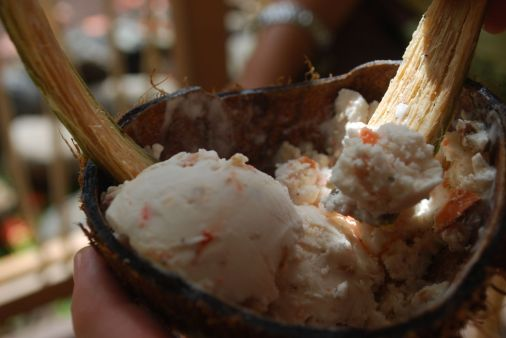 Homemade coconut-chili icecream