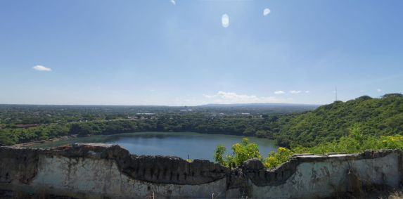 A view of Laguna de Tiscapa, an old crater lake, from Loma de Tiscapa