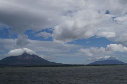 A view of Ometepe with volcan Conceptión to the left and Maderas to the right