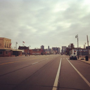 Thankgiving Day means very empty and quiet streets of Detroit