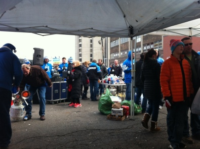 Tailgating outside Ford Field before game start